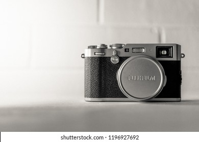 Fujifilm X100F mirrorless camera with a fixed 35mm lens. The X100F is currently the newest camera in the Fujifilm X100 Series. Photographed: October, 2018.