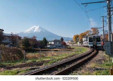 Fujikyu railway and Mt. fuji in Yamanashi, Japan