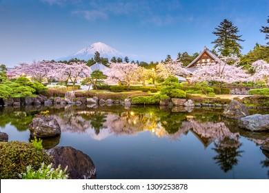 Fujinomiya, Shizuoka, Japan with Mt. Fuji and temples in spring season.