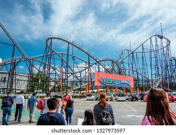 Fuji-Q Highland, Fujiyoshida, Yamanashi Prefecture, Japan. May 25, 2018. A big group of people walking into the famous theme park of Japan, Fuji-Q Highland.