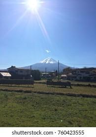 Fujisan and the beautiful sky at kawaguchiko Japan