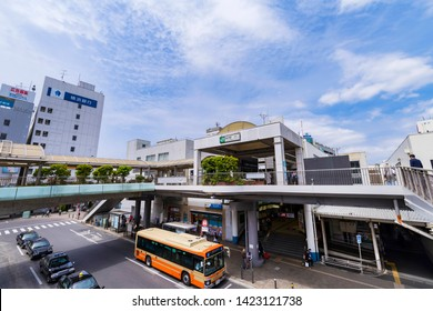 """FUJISAWA, KANAGAWA / JAPAN - APRIL 23 2019 : A view of the JR """"Fujisawa Station"""" south entrance. There are bus terminal and Pedestrian deck in front of the station."""