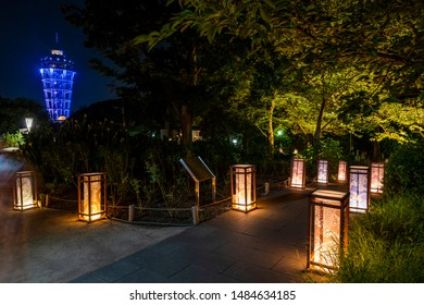 FUJISAWA, KANAGAWA / JAPAN - AUGUST 17 2019 : Every August, lanterns are lit up at Enoshima Island. It is a popular event visited by many tourists.