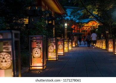 """FUJISAWA, KANAGAWA / JAPAN - AUGUST 30 2018 : A scenery of """"Enoshima lantern festival"""" held on Enoshima. A lantern is decorated also in the approach of Enoshima Shrine, a mysterious atmosphere."""