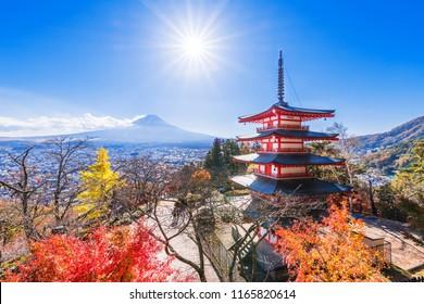 "FUJIYOSHIDA CITY, YAMANASHI / JAPAN - NOVEMBER 9 2017 : A landscape of ""Arakurayama Sengen Park"" with a beautiful red maple. Many tourists visit to see Pagoda and Mt. Fuji."
