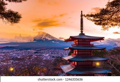 Fujiyoshida, Japan at Chureito Pagoda and Mt. Fuji
