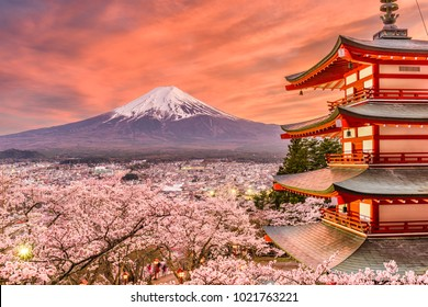 Fujiyoshida, Japan spring landscape with Mt. Fuji and the Peace Pagoda.