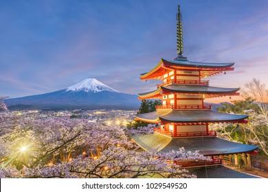 Fujiyoshida, Japan view of Mt. Fuji and pagoda in spring season.