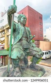 Fukui, Japan - Jul 27 2017- Statue of Shibata Katsuie (1522-1583) at Shibata Shrine in Fukui City, Fukui Prefecture, Japan. He was a Japanese samurai and military commander during the Sengoku period.