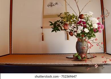 FUKUI, JAPAN - OCTOBER 24, 2017 : Japanese traditional flower arrangement art called IKEBANA is decorated in main hall of Japanese garden called Koyokan Tei-en in Fukui city