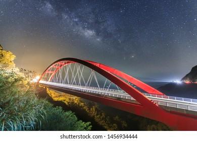 FUKUO Bridge ath the starry night, Chiayi, Taiwan