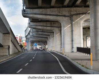 Fukuoka city Fukuoka Prefecture JAPAN - February 20 2019: road under the highway