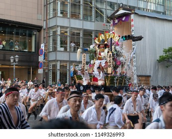 Fukuoka city Fukuoka prefecture JAPAN - July 14 2018: Summer festival with men racing through the streets while bearing 1-ton floats on their shoulders. Hakata Gion Yamakasa. From July 1st to 15th.