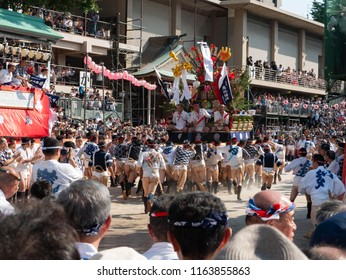 Fukuoka city Fukuoka prefecture JAPAN - July 12 2018: Summer festival with men racing through the streets while bearing 1-ton floats on their shoulders. Hakata Gion Yamakasa. From July 1st to 15th.