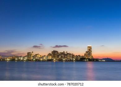 Fukuoka city with twilight scene, Fukuoka, Japan.