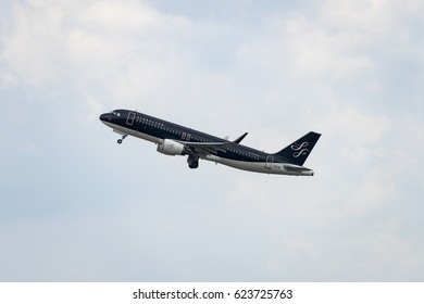 FUKUOKA, JAPAN - APR. 15, 2017: Airbus A320-200 taking off from the Fukuoka International Airport in Fukuoka, Japan.