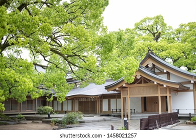 Fukuoka, Japan - April 30, 2019 : the traditional building at Dazaifu Tenmangu Shrine.
