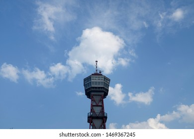 Fukuoka, Japan - August 3rd , 2019 : Hakata Port Tower is a 103 metre high lattice tower with an observation deck in a height of 73.5 metres in Hakata-ku, Fukuoka, Japan.