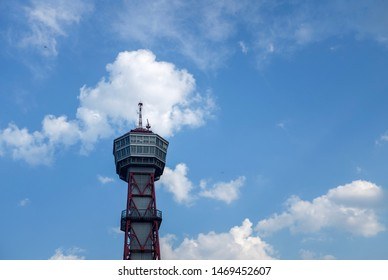 Fukuoka, Japan - August 3rd , 2019: Hakata Port Tower is a 103 metre high lattice tower with an observation deck in a height of 73.5 metres in Hakata-ku, Fukuoka, Japan