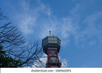 Fukuoka , Japan -  August 3rd 2019 : Hakata Port Tower is a 103 metre high lattice tower with an observation deck in a height of 73.5 metres in Hakata-ku, Fukuoka, Japan