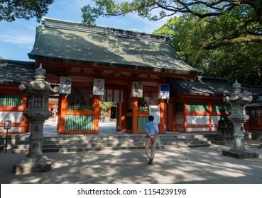 FUKUOKA, JAPAN - AUGUST 5TH, 2018.  Visitors at the Chikuzen Ichinomiya Sumiyoshi Shrine.