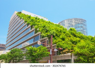 FUKUOKA, JAPAN - JUL 09: View of Acros Fukuoka on Jul 09, 2015 in Fukuoka, Japan. Acros Fukuoka is the eco-building and landmark of Fukuoka that has a green roof.