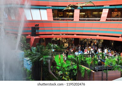 Fukuoka / JAPAN - JULY 23,2015: Children are playing with water at The Canal City Hakata which is large shopping and entertainment complex in Fukuoka, Japan.