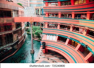 Fukuoka, Japan - June 13, 2017 : View of Canal City Hakata, modern architecture