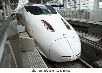 FUKUOKA, JAPAN - JUNE 2, 2012: Shinkansen bullet train at Fukuoka station in June 2, 2012 Fukuoka,Japan.Shinkansen is world's busiest high-speed railway operated by four Japan Railways group companies