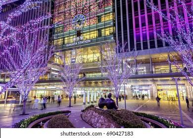 FUKUOKA, JAPAN - MARCH 19, 2014: JR Hakata Station during the holiday season. Holidays illumination light are decorated in Hakata Station.