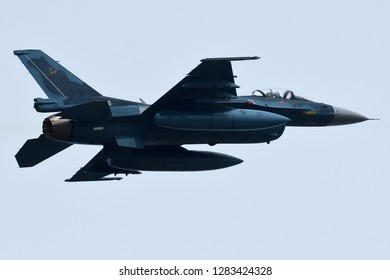 Fukuoka, Japan - March 22, 2017:  Japan Air Self Defense Force F-2A multirole fighter takes off at Tsuiki AB.