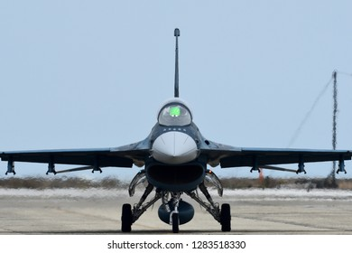 Fukuoka, Japan - March 22, 2017:  Japan Air Self Defense Force F-2A multirole fighter at Tsuiki AB.