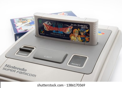 Fukuoka, Japan - may 1, 2019 : Enix 1990's games dragon quest 1 and 2 cartridge plugged into the original Nintendo Super Famicom
