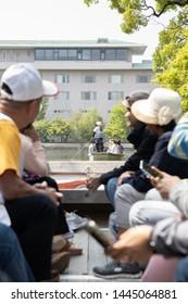 Fukuoka, Japan - May 2, 2019 : a long, narrow, flat-bottomed boat or punt tour of the waterways river at Yanagawa Kanko Kaihatsu K.K. (Shogetsu Punting Station)