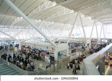 FUKUOKA, JAPAN: May 20, 2018: International terminal departs at Fukuoka International Airport, Fukuoka, Japan.
