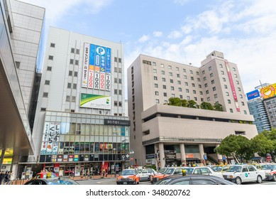 FUKUOKA, JAPAN - NOV 30 2015. Hakata Station and its surrounding shopping mall. It is one of the biggest stations in Fukuoka which is a terminal of Shinkansen or bullet train.