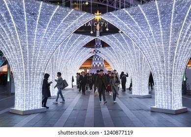 Fukuoka, Japan- November 19, 2018: Many people visit the light up in front of JR Hakata city, Fukuoka, Japan