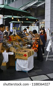 Fukuoka, Japan. september 23 2018 buying people at Hakata farmers market event in the front of Hakata JR train station