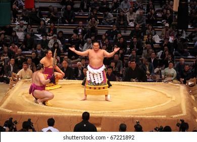 FUKUOKA - NOVEMBER 18: Three highest ranking sumo wrestlers performing a ceremony in the Fukuoka Tournament on November 18, 2010 in Fukuoka, Japan.