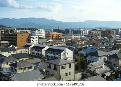 Fukuoka suburban cityscape, Kyushu, Japan