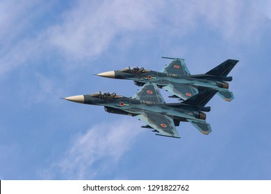 FUKUOKA,JAPAN - NOV 25,2018: The Mitsubishi F-2 multirole fighters making a formation flyby in Tsuiki AB at Japan Air Self-Defense Force(JASDF) 8th Wing.