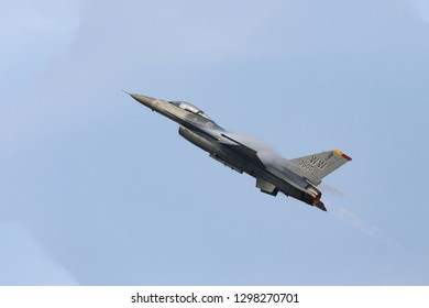"FUKUOKA,JAPAN - Nov 25,2018:PACAF F-16 Demo Team pilot Capt. Jacob ""Primo"" Impellizzeri performs a demonstration at  Tsuiki Air Base Airshow in Japan."