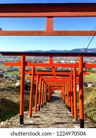 Fukuoka,Japan-March 17,2018 : Ukiha Inari shrine with stunning torii and superb view.
