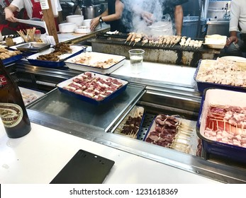 Fukuoka,Japan-September 16,2018:The street stall : The street stall businesses of Fukuoka operate from a fixed place and are not mobile.Enjoy ramen,tempura,oden,various grilled foods and many others.