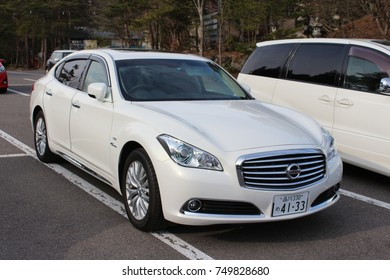 Fukushima, Japan - APR 20, 2014 : Front of Nissan Cima hybrid