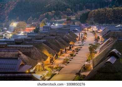 FUKUSHIMA, Japan - NOV 01, 2017: Ouchijuku village is a fomer post town along the Aizu-Nishi Kaido trade route, which connected Aizu with Nikko during the Edo period
