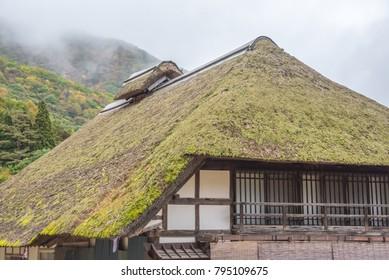Fukushima,Japan - October 21,2017 : Thatched roof house of Ouchijuku village is a fomer post town along the Aizu-Nishi Kaido trade route in ,fukushima,Japan.