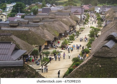 FUKUSHIMA,JAPAN - SEPTEMBER 7, 2013: Ouchijuku is a former post town along the Aizu-Nishi Kaido trade route, which connected Aizu with Nikko during the Edo Period.