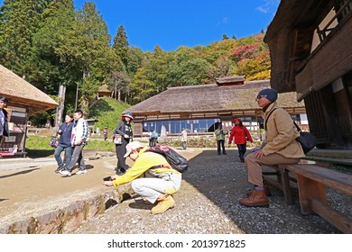 FUKUSHIMA-JAPAN-OCTOBER 28 : Traveling at Ancient village Japanese style on the mountain in the local town, October 28, 2019 Fukushima Province, Japan
