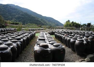 Fukuyama, Kagoshima, Japan - Nov. 14, 2017 : Many Vinegar Pots in Kakuida Black Vinegar Factory